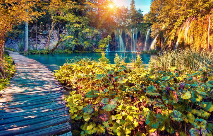 Colorful autumn sunrise in the Plitvice Lakes National Park. Croatia