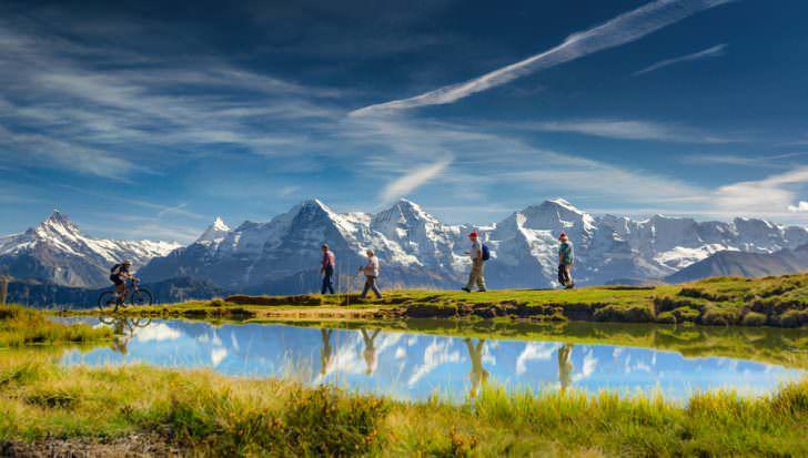 Outdoor activities in the Swiss Alps, Bernese Oberland, Switzerland