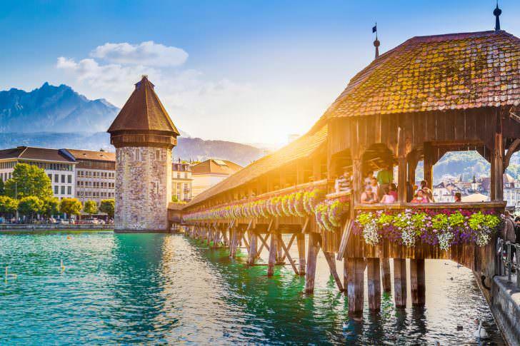 Famous Chapel Bridge and Mount Pilatus Canton of Lucerne, Switzerland