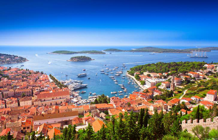 Harbor of old Adriatic island town Hvar, Croatia