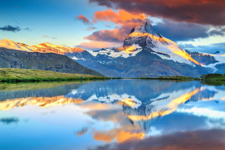 Magical sunrise panorama with Matterhorn and beautiful alpine lake, Stellisee, Valais region, Switzerland