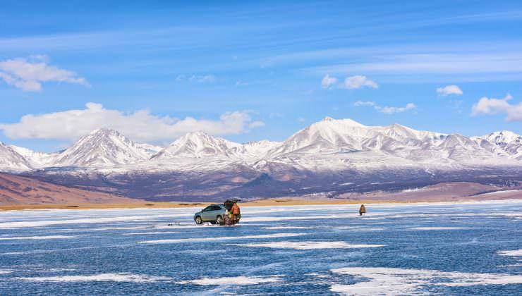 ماهیگیری یخی در دریاچه خاوشیگل، مغولستان
