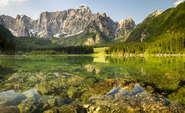 Panorama mountain lake in the Julian Alps, Laghi di Fusine