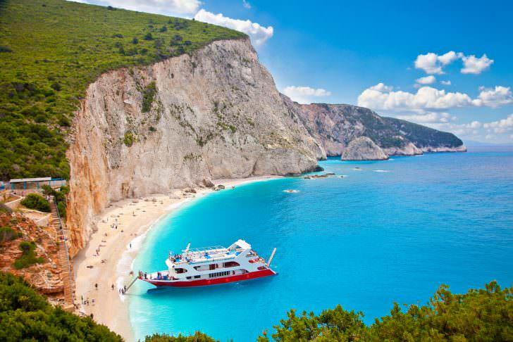 Beautiful panoramic view on turquoise Katsiki beach, Lefkada, Greece