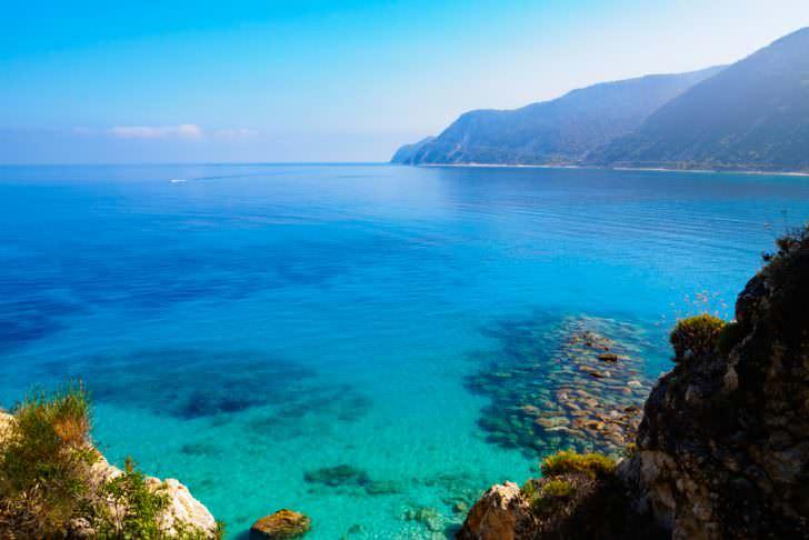 Sea at Agios Nikitas on Lefkada, Greece