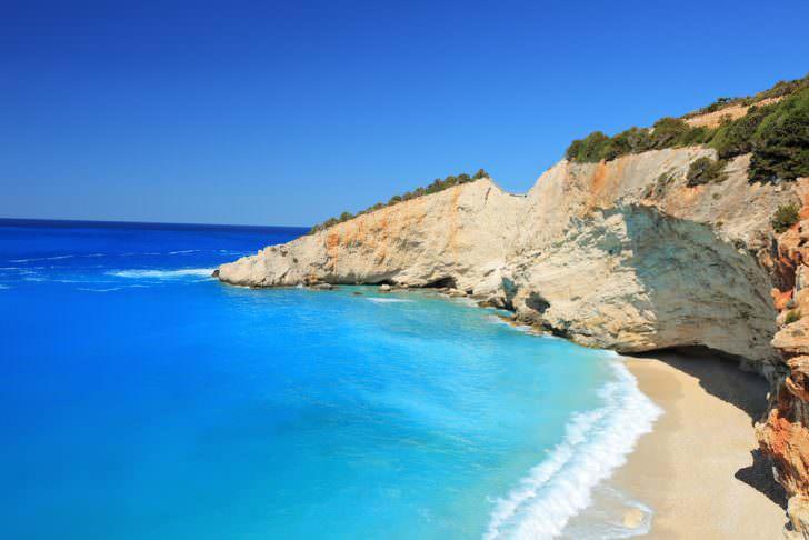 Sunny day at the famous Porto Katsiki beach on the island of Lefkada, Greece