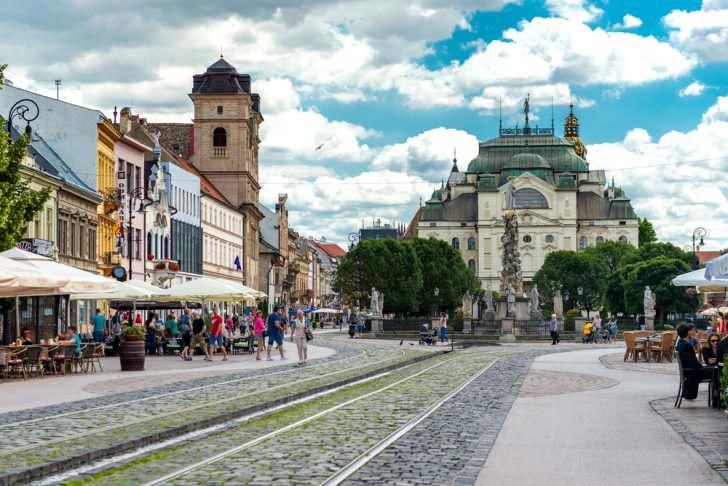 Main street of Kosice, Slovakia.