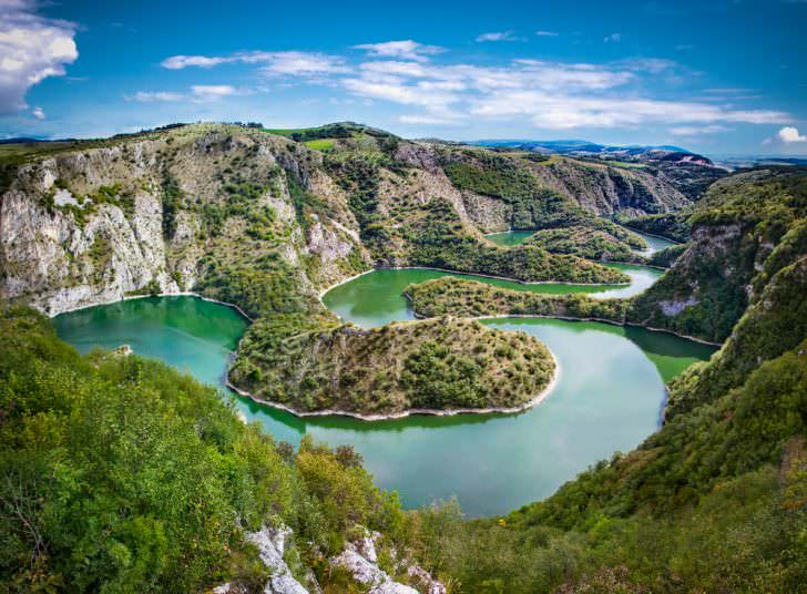Meanders at rocky river Uvac gorge, Serbia