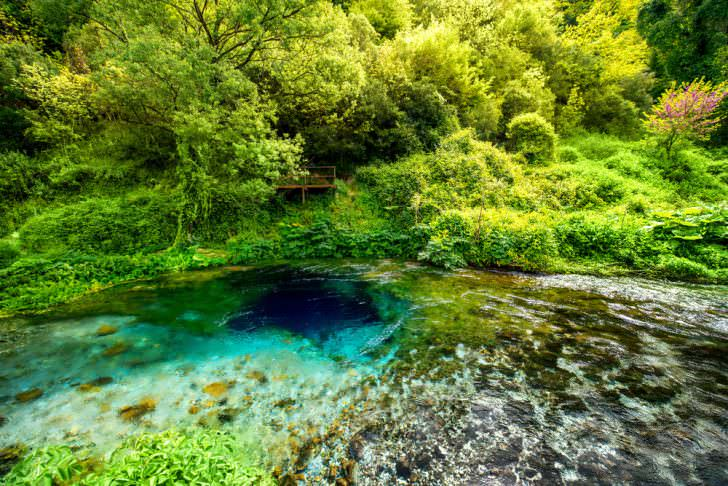 National landmark spring Blue Eye in Albania