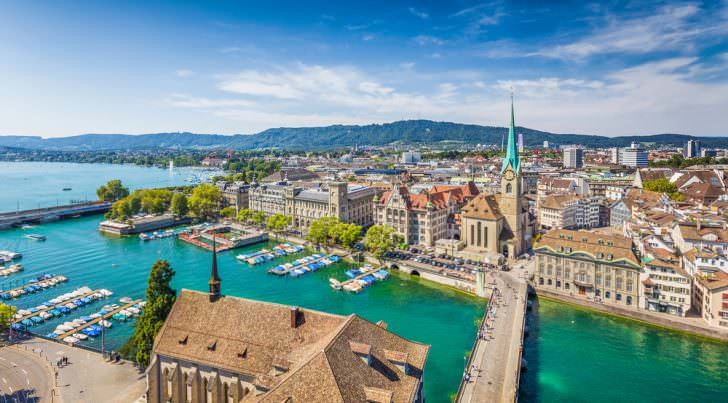 Aerial view of Zurich city center with famous Fraumunster Church and river Limmat at Lake Zurich Canton of Zurich, Switzerland