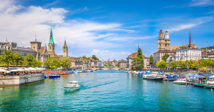 Panoramic view of historic Zurich city center Canton of Zurich, Switzerland