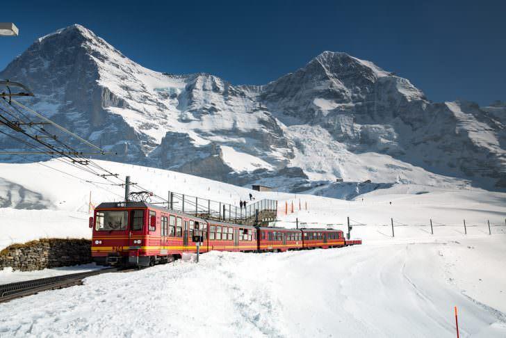 View of a Jungfrau Railways train, connecting Kleine Scheidegg to Jungfraujoch