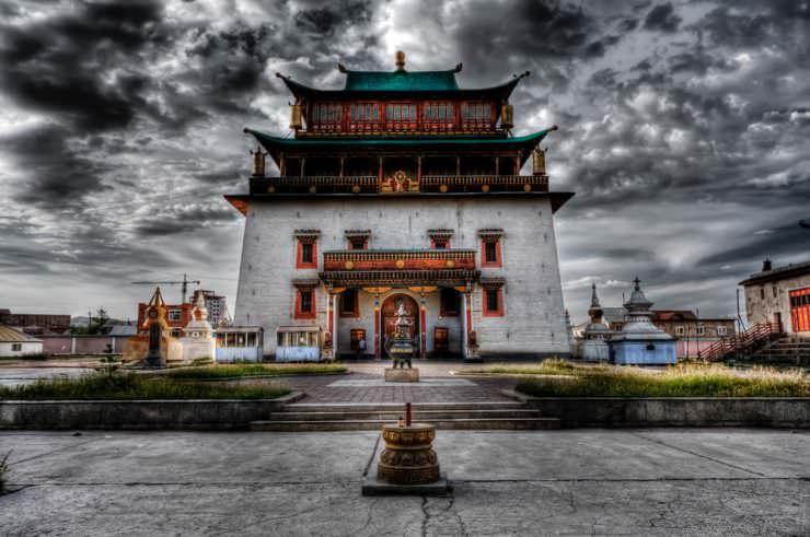 The Gandantegchinlen or Gandan Monastery in Ulaanbaatar, Mongolia