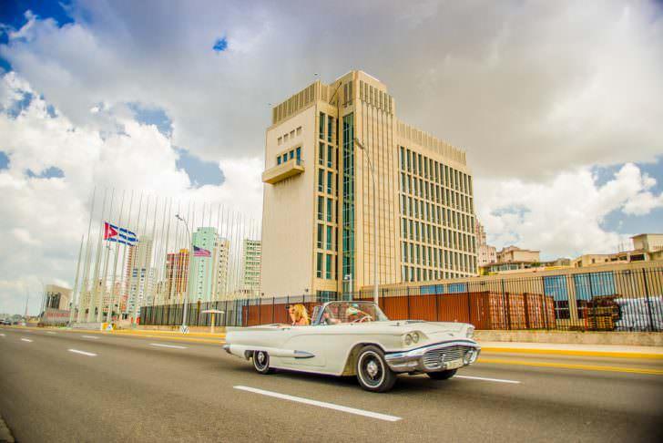 The US embassy in the city of Havana, Cuba
