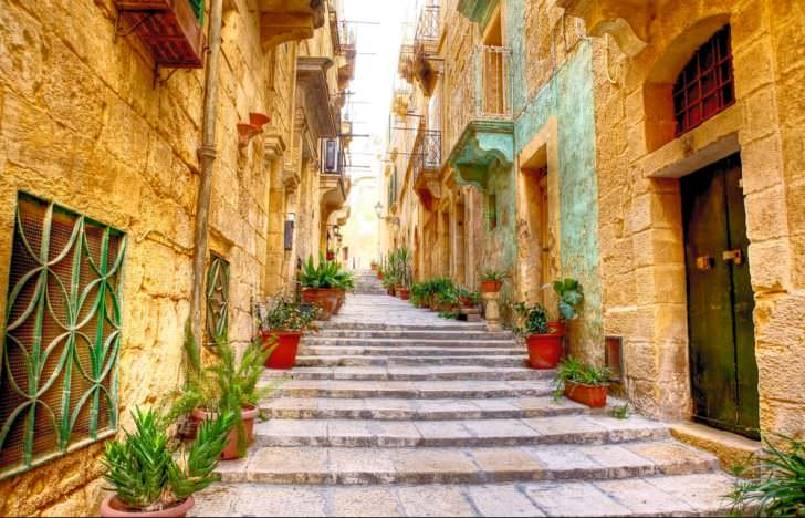 Typical Narrow Street in the City Valetta, Malta