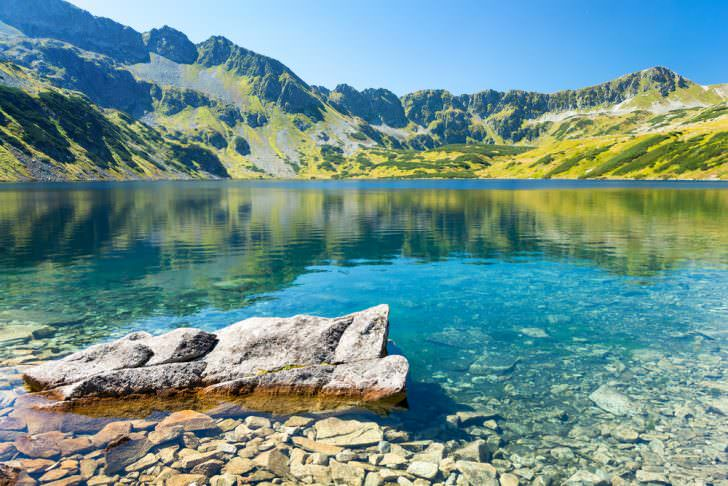 Summer view on five polish lakes valley in Tatra Tatry mountains, Poland
