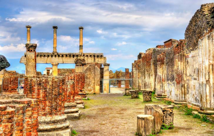 Ancient ruins of the Forum in Pompeii, Italy