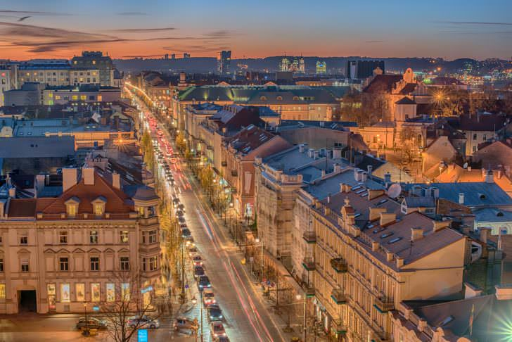 View of the old town and downtown of Vilnius, Lithuania.
