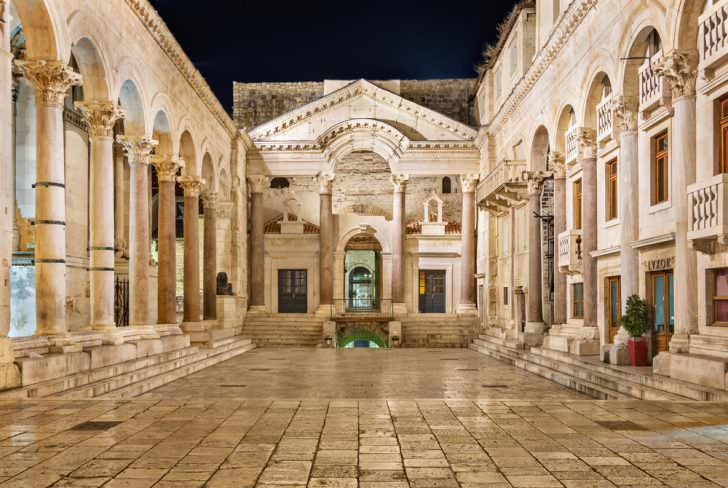 View of the peristyle of Diocletian's Palace in Split at night