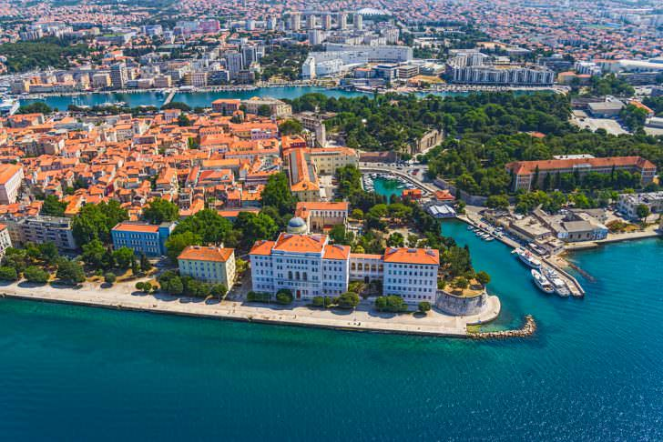 Aerial shot of Zadar old town, famous tourist attraction in Croatia