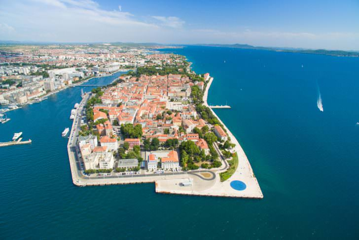 Aerial view of the city of Zadar in Croatia