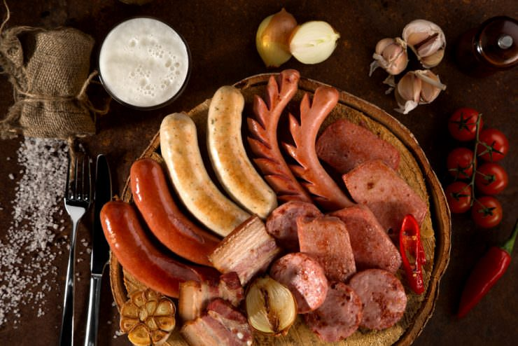 Grilled and boiled meat sausages