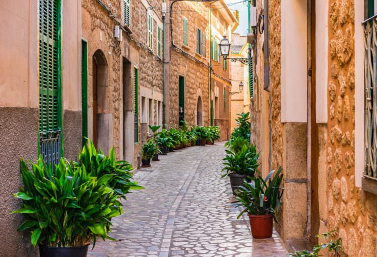 Idyllic street at the old town of Soller, Spain,