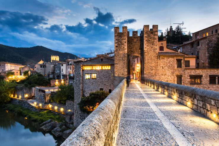 Night landscape from the Besalu medieval village entry