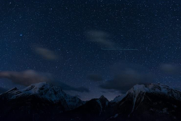 Night sky above mountains in Ramsau, Germany