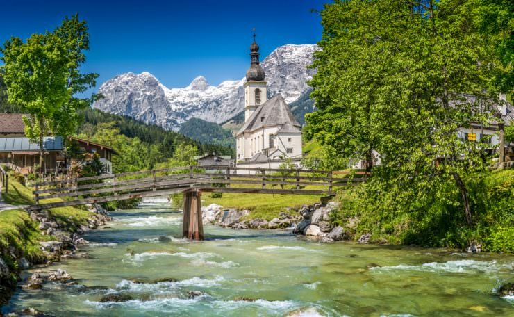 Parish Church of St. Sebastian in the village of Ramsau, Germany