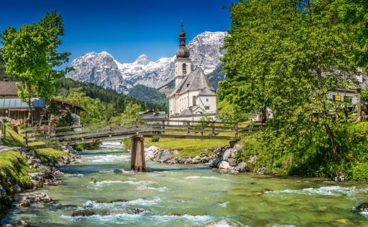 Parish Church of St. Sebastian in the village of Ramsau, Germany