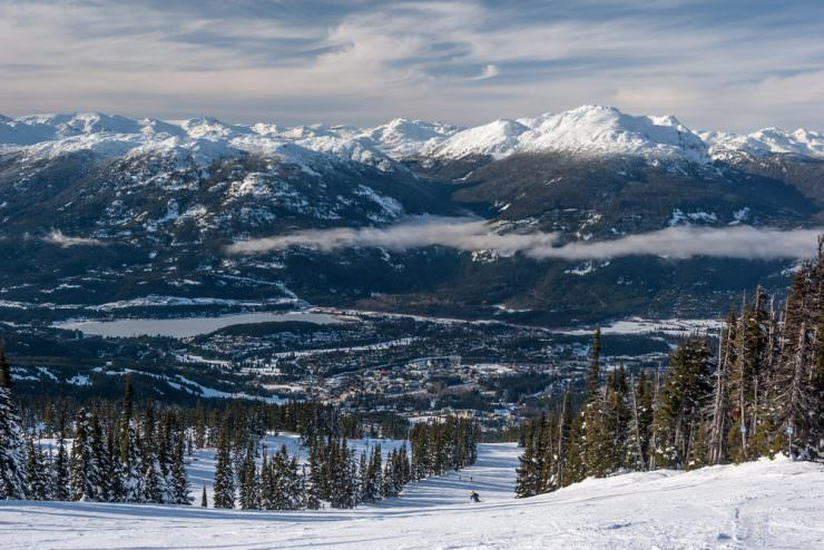 Skiing down to Whistler village from Blackcomb Mountain