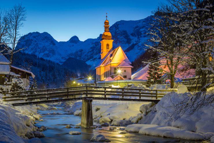 St. Sebastian Church at night