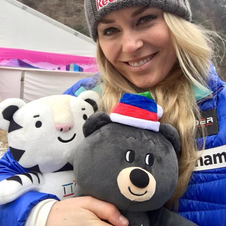 Lindsey Vonn with The Pyeongchang 2018 Mascots