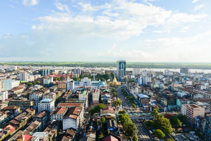 Aerial view of Sule pagoda in downtown, Yangon, Myanmar
