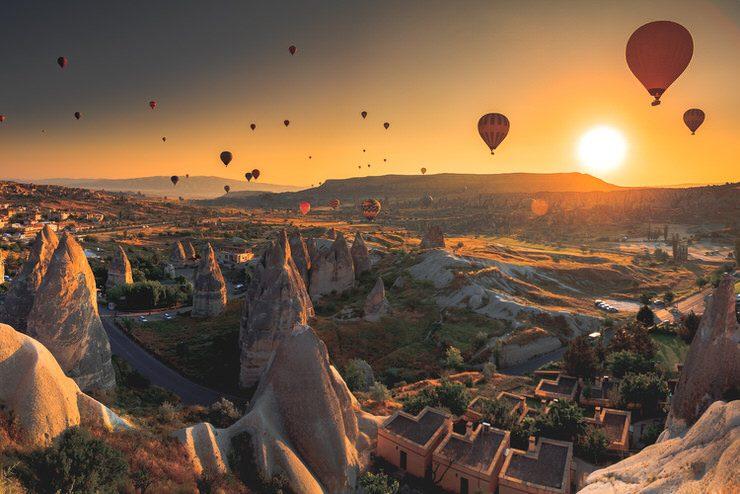 Hot air balloon flying over Gorema National Park, Turkey