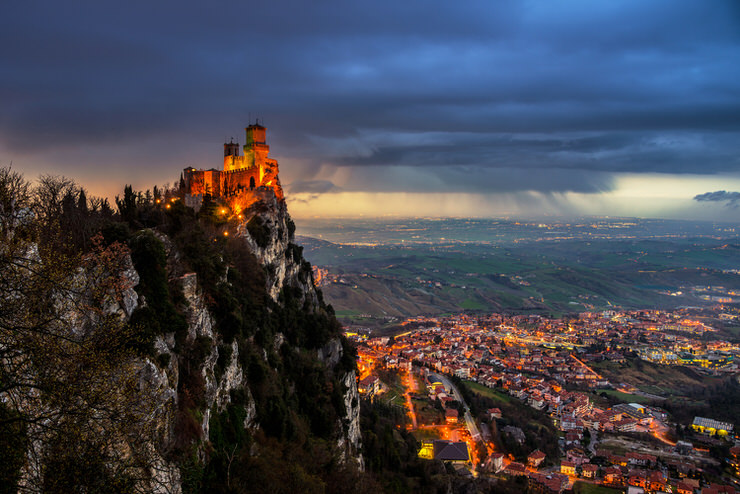 San Marino fortress of Guaita on Mount Titano at sunset