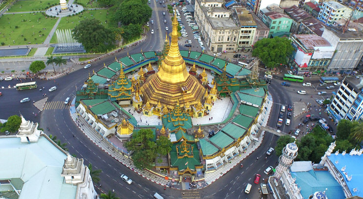 Sule Pagoda during the day from above