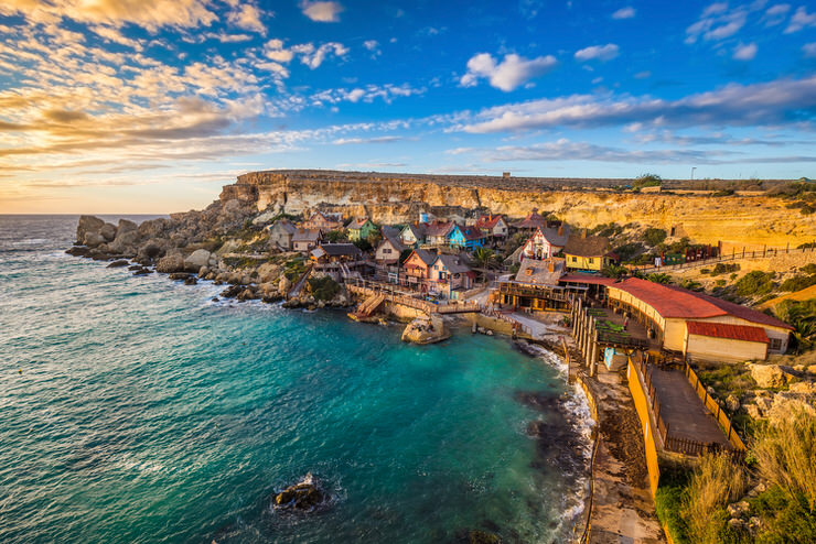 Sunset at the famous Popeye Village, Malta