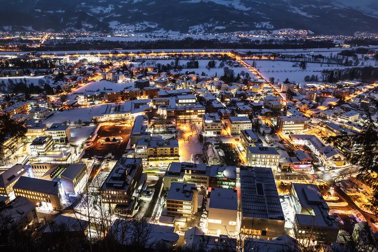 Vaduz, Liechtenstein top view at night