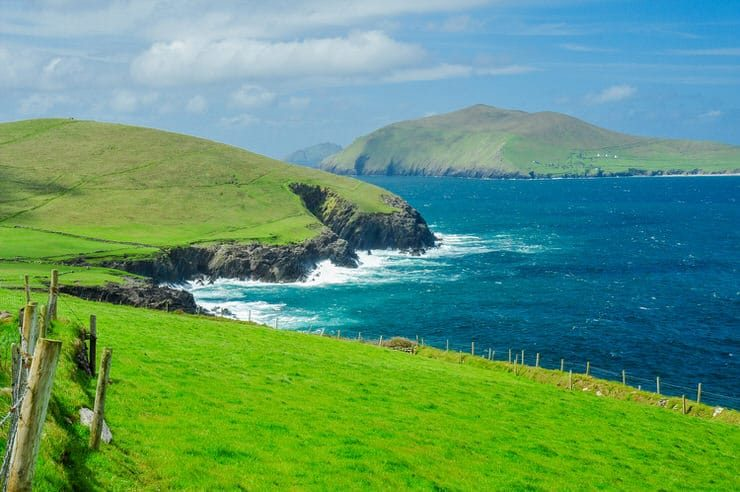 View of the coastline with Great Blasket Island in the distance, Dingle Peninsula, Ireland