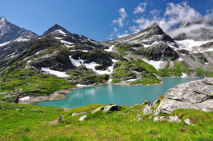 Weisssee, White Lake in Hohe Tauern National Park, Austria