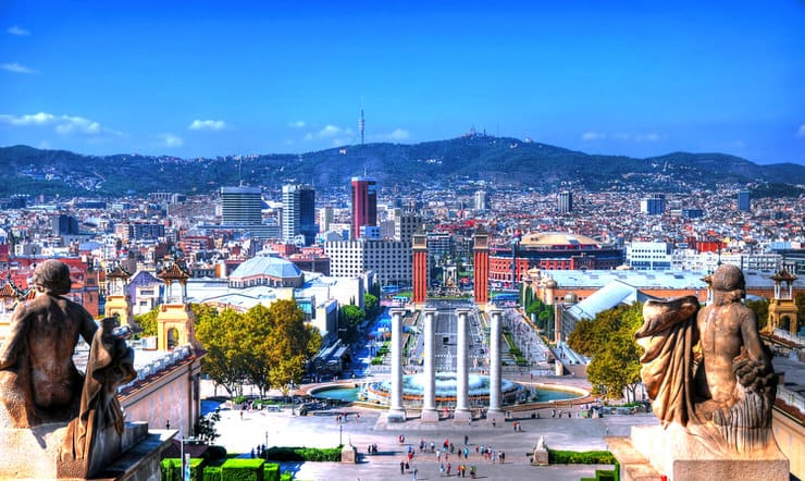 The skyline of Barcelona from the Montjuic