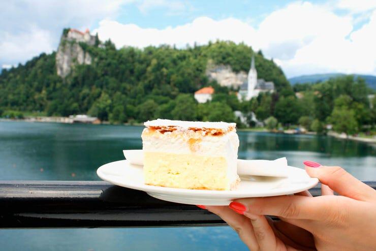 Traditional Slovenian dessert - cream cake called Kremsnita