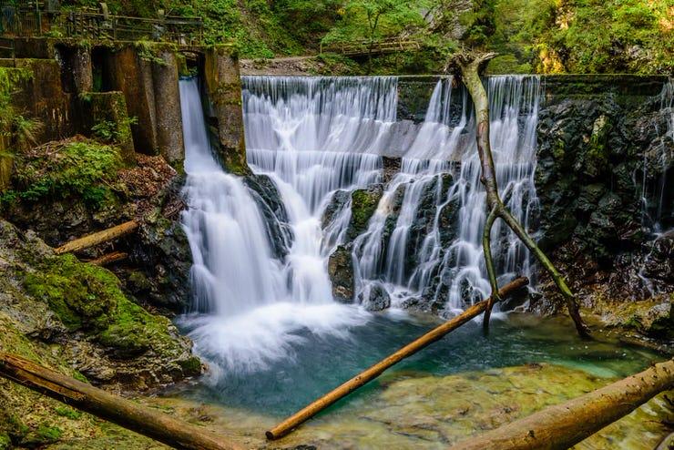 Waterfall at the Vintgar Gorge, Bled, Slovenia