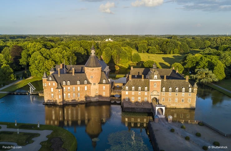Aerial Drone View of Anholt castle, Germany
