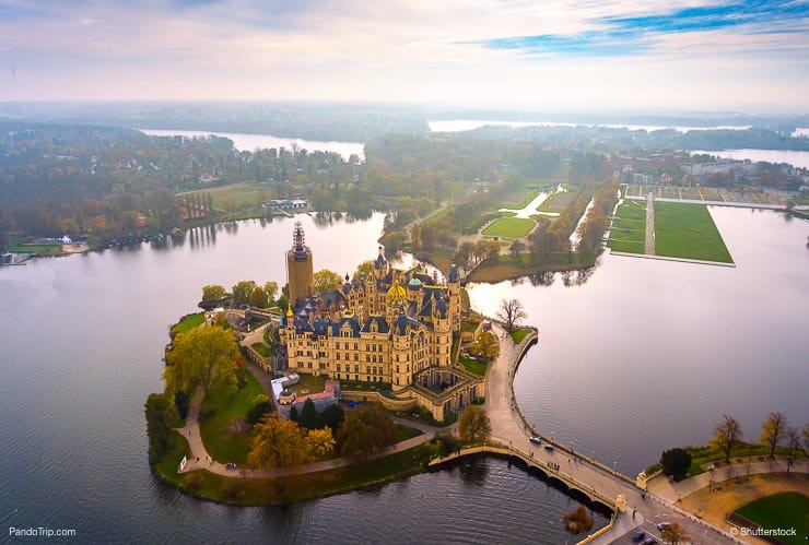 Aerial Drone View of Schwerin Castle, Germany