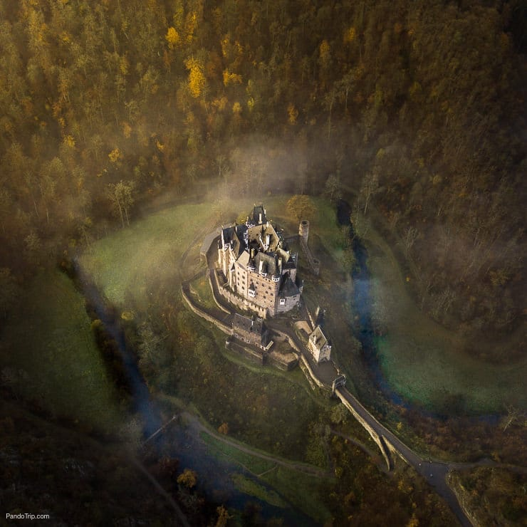 Aerial view of Eltz Castle in Germany