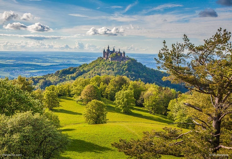 Aerial view of famous Hohenzollern Castle in Germany