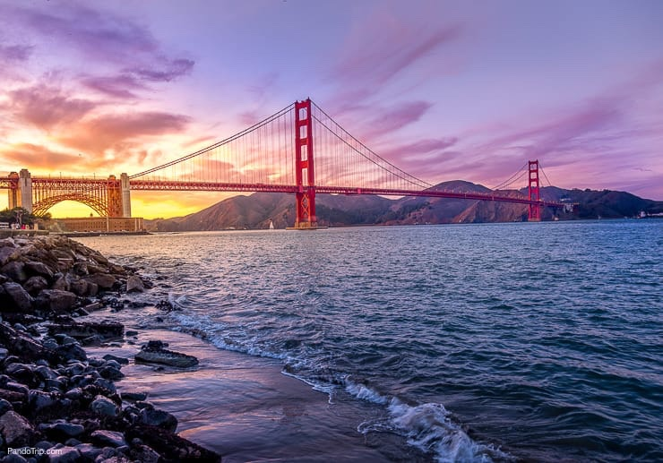 Amazing Sunset over Golden Gate Bridge, San Francisco